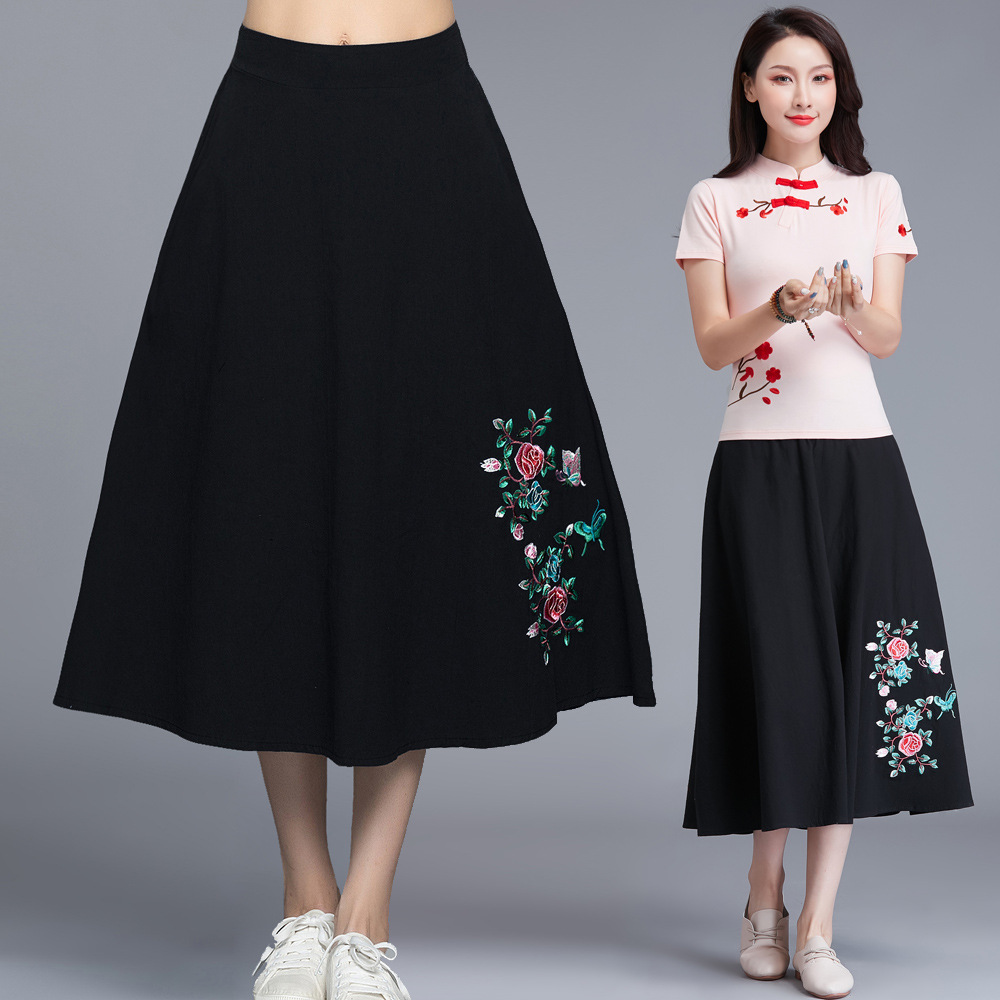 T8373 Spring And Summer New Style Skirt Literature And Art Embroidery Medium-length Dress National Wind Elastic Waist Skirt Vers