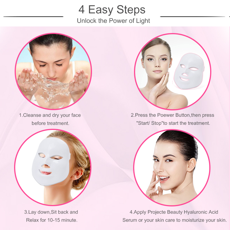 Image 5 - Licheng Led Facial Mask 7 Colors  Led Korean Photon Therapy Face Mask Machine Light Therapy Wrinkle Acne Skin Care Led Mask-in Face Skin Care Tools from Beauty & Health