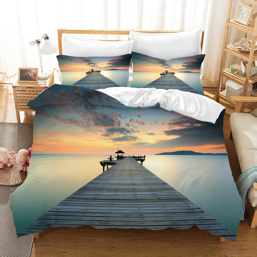 2/3PCS Holiday Theme Tropical Ocean Bedding Set Natural View Bed Linen Set Bridge Sunrise Microfiber Duvet Cover Set Pillowcase