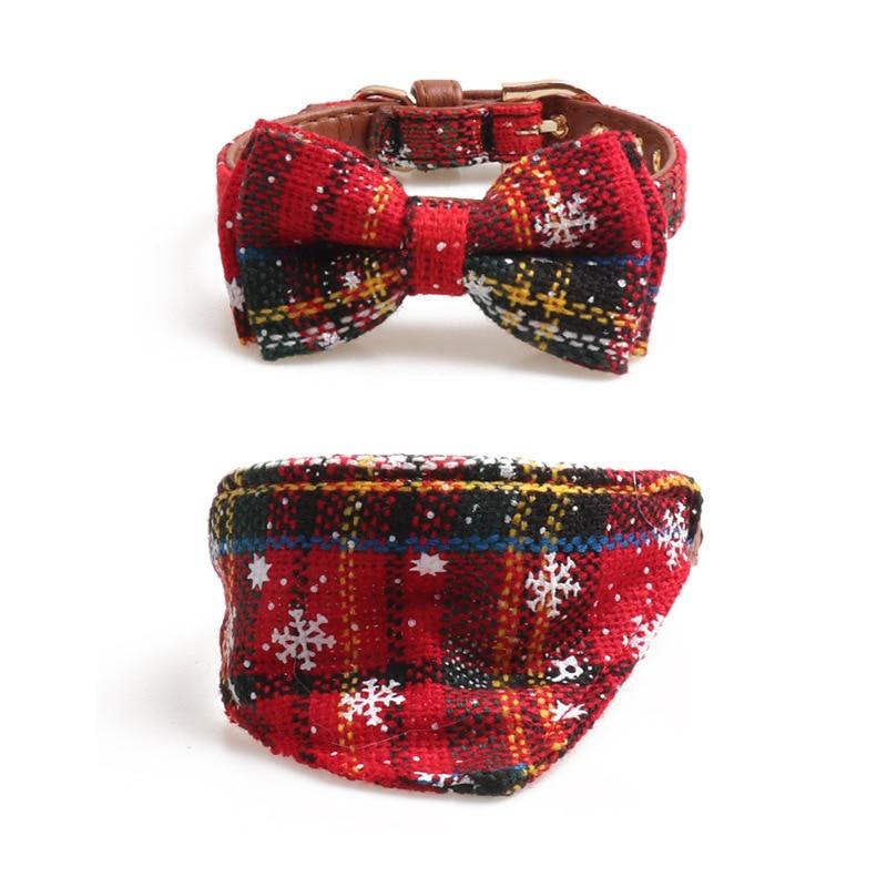 Jin Jie Te Christmas Series Pet Collar Bow Neck Ring Triangular Binder Dog Neck Ring Cat Neck Ring Snowflakes Cloth