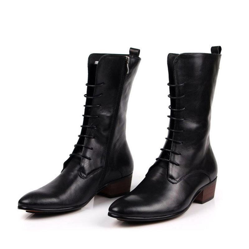Men Retro Pointed Toe Lace Up Riding  Boots Top Brand Genuine Leather Punk Mid-Calf Italian Block Heel Shoes Male Footwear