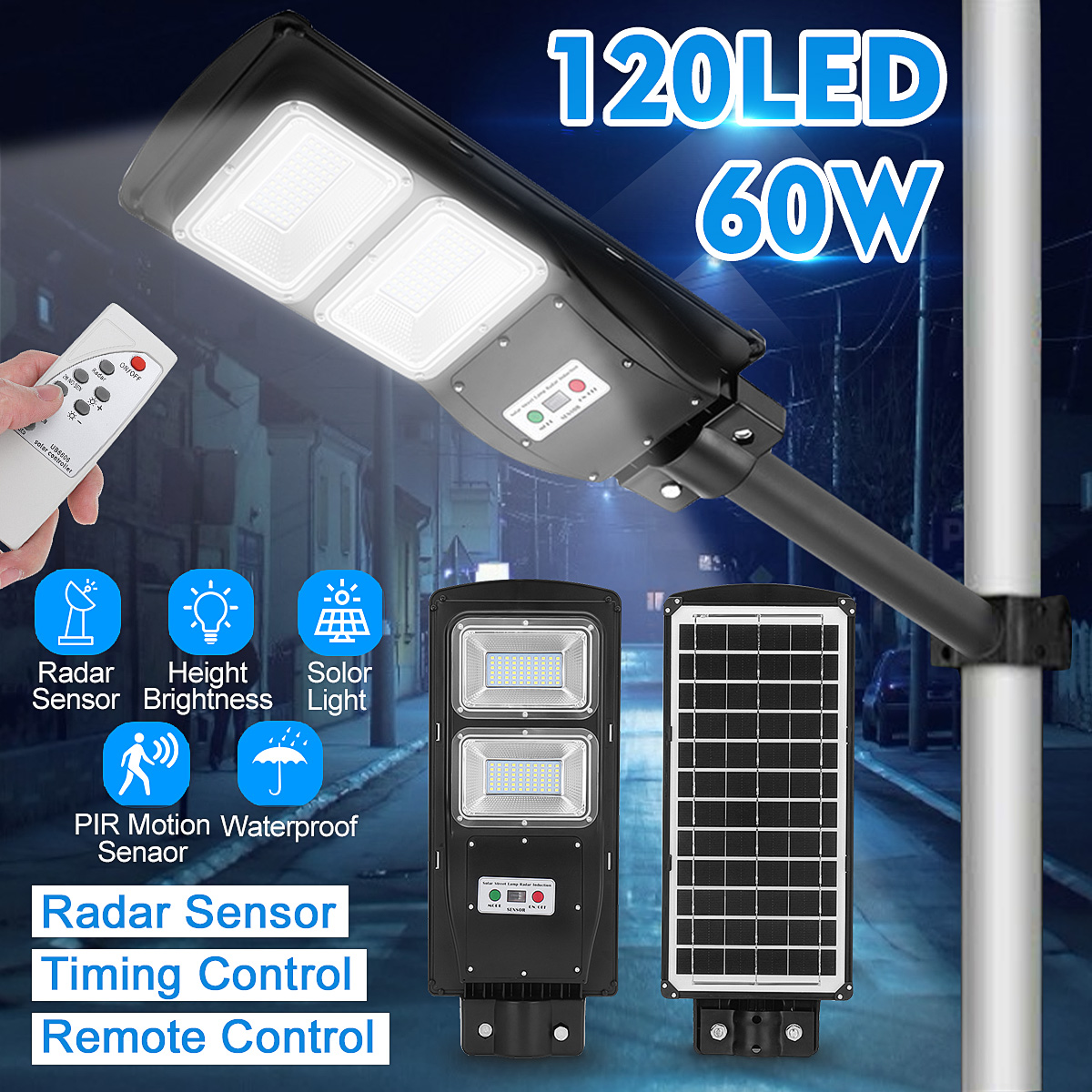 Remote Control LED Street Light 60W LED Solar Light Radar PIR Motion Sensor Wall Timing Lamp Waterproof for Plaza Garden Yard