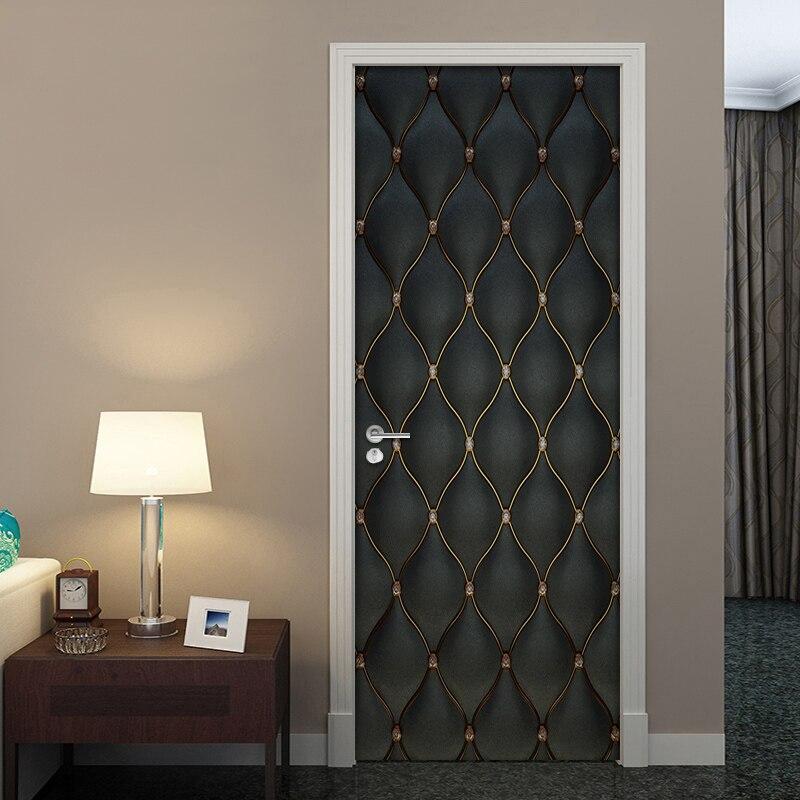 PVC Waterproof Self adhesive Door Sticker 3D Black Soft Bag Living Room Bedroom Door Mural Wallpaper Home Decor Papel De Parede|Door Stickers| |  - title=