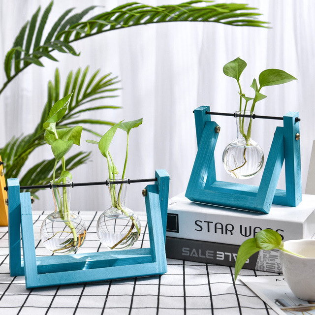 Hydroponic Glass Planter Bulb Vase with Wooden Stand Tray Tabletop Desk Decor Water Planting Propagation Home Decoration BJStore 6