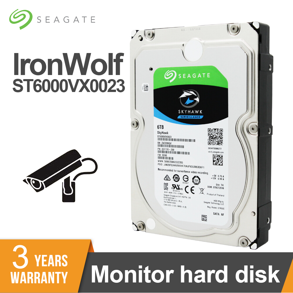 Seagate Surveillance <font><b>6TB</b></font> 7200RPM SATA 6Gb/s 3.5inch 256MB Cache Video <font><b>HDD</b></font> Internal Hard Disk Drive For Security ST6000VX0023 image
