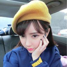 Kadınlar kış bere yumuşak sıcak yün klasik bereliler keçe fransız sanatçı kasketleri Tam Baggy şapka kapaklar kız chapéu