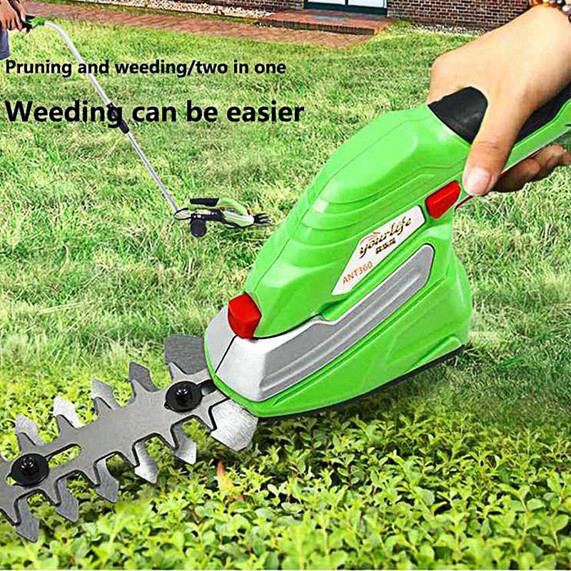 Garden Electric Trimmer Grass Mower Scissor Cutter Cordless 1500mAh Lithium-ion 2 Blade Hedge Lawn Mower Lawnmower Trimmer Green