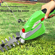 Garden Electric Trimmer Grass Mower Scissor Cutter Cordless 1500mAh Lithium-ion 2 Blade Hedge Lawn Mower Lawnmower Trimmer Green et1511c portable small multi functional lawn mower 7 2v 1 5ah rechargeable gardening electric lawn hedge trimmer pruning mower