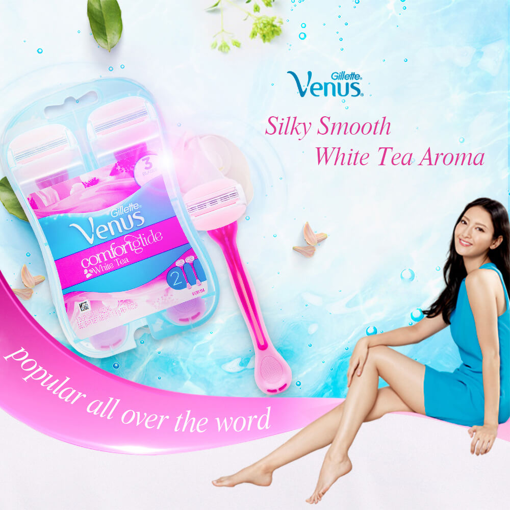 Gillette Venus Razor For Women Smooth Lubricating  Comfortable Ultra Thin 3 Layers Shaving Razor Blades Girl Body Hair Removal