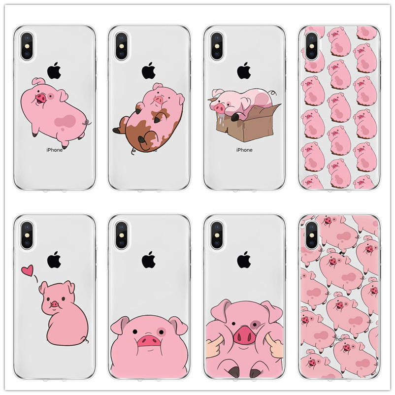 Cartoon <font><b>red</b></font> pink pig Cute <font><b>cases</b></font> cover For <font><b>iPhone</b></font> 11 pro max X xs XR MAX 8 7 6 <font><b>6S</b></font> <font><b>Plus</b></font> 5 5S SE tpu Soft silicone phone <font><b>case</b></font> Coque image