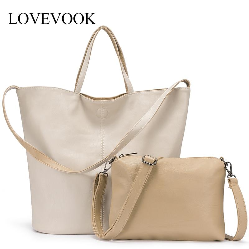 LOVEVOOK Bag-Set Totes-Bags Women Handbag Shoulder-Bag Large Soft PU for Foldable Female