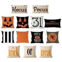 2019 Happy Halloween Treat or Trick Scary Pumpkin Print Throw Pillow Cover Sofa Cushion Pillowcase Cushion Cover Home Party Deco цена