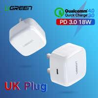 Ugreen szybkie ładowanie 4.0 3.0 QC UK wtyczka ładowarka PD 18W QC4.0 QC3.0 USB typu C szybka ładowarka do ładowarki iphone'a 11 X Xs 8 telefon ładowarka PD