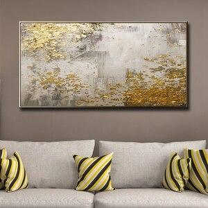 Image 3 - 2020 لوحة Cuadros لتزيين الجدران ومطبوعات 100% مرسومة باليد ، وجداريات جبلية ذهبية ، ديكور غرفة المعيشة