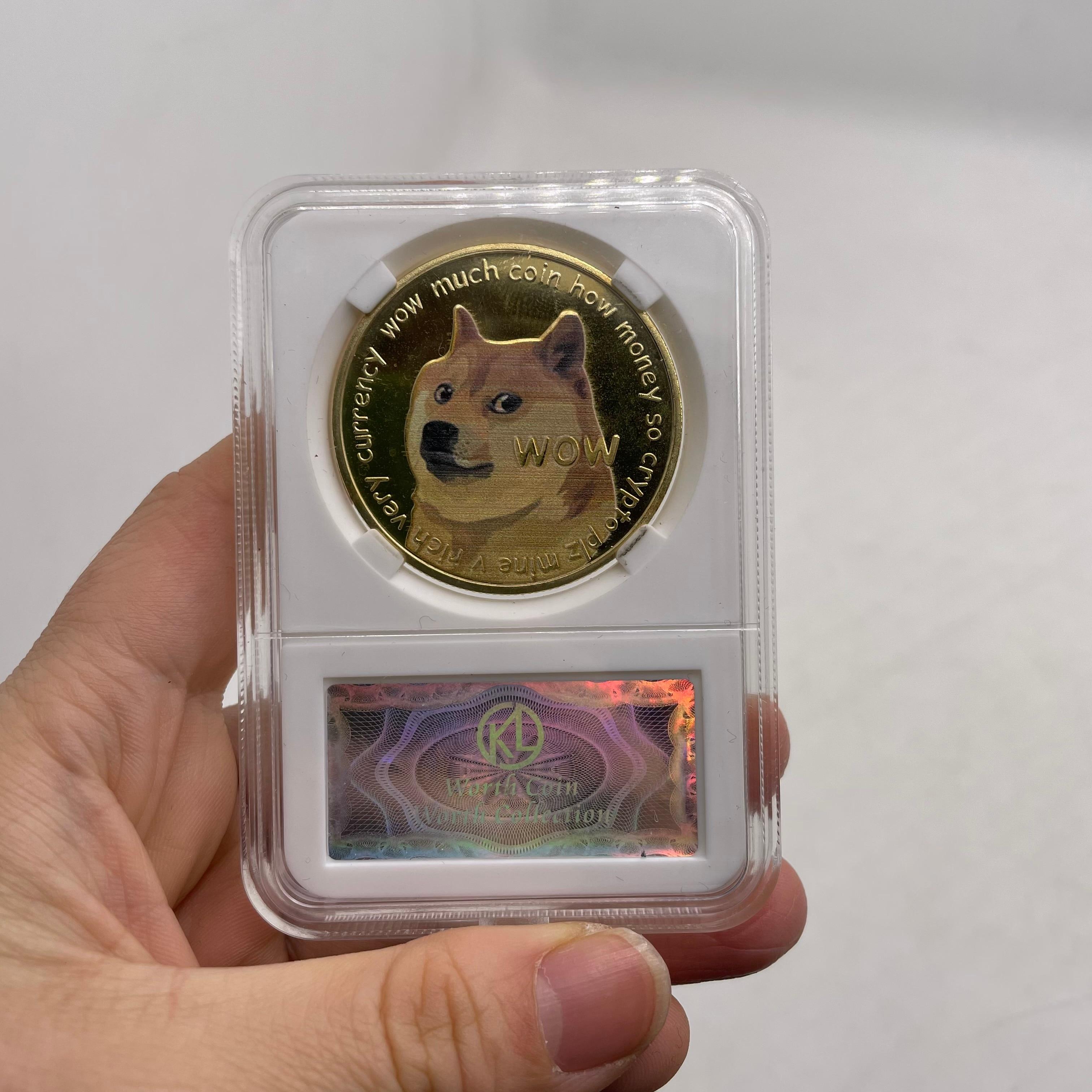 Золотой или серебряной дожкойн Bitcoin ETH/Litecoin/приборной панели/пульсация/монеро/EOS Металл физической Ada Cardano монета с акриловым Дисплей чехол