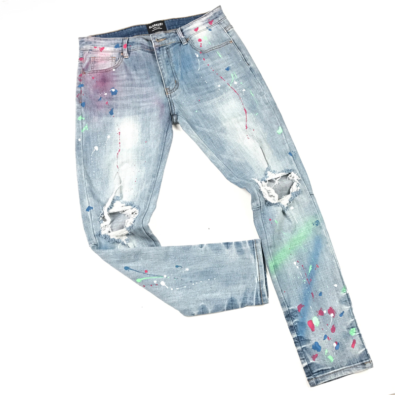 Blue Multicolor Paint Splatter Jeans Skinny-fit Distressing Jean Men Streetwear