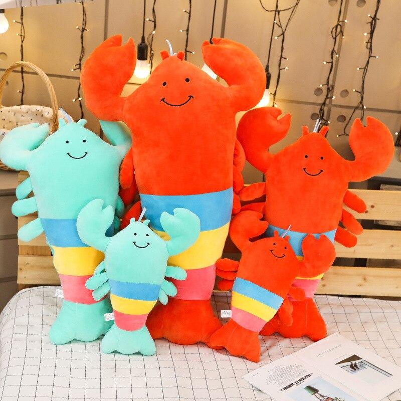 INS mignon dessin animé couleur homard poupée jouets en peluche pyjama oreiller poupée fête des enfants cadeau envoyer fille