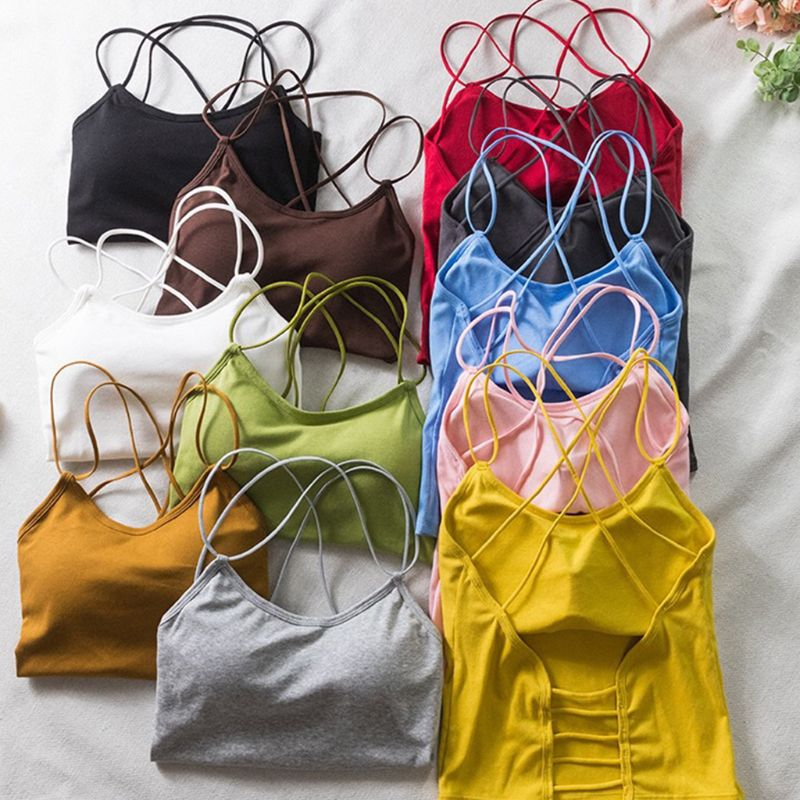 Womens Summer Candy Color Slim Tank Top Sexy Cross Bandage Hollow Out Backless Camisole Removable Padded Sling Vest Beachwear