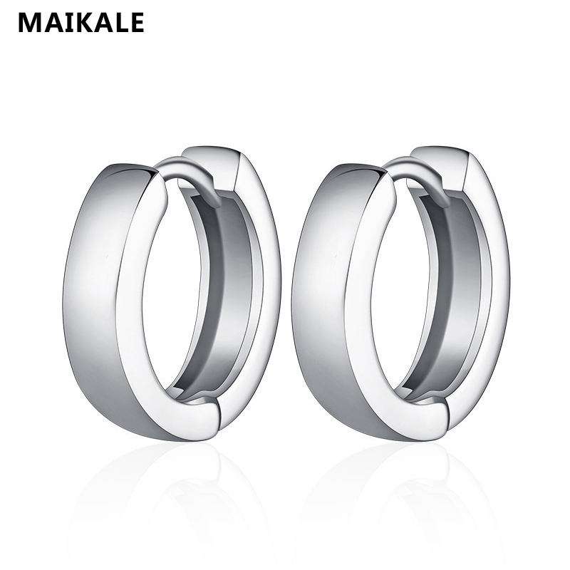 MAIKALE New Classic Copper Gold Silver Color Men's Punk Earring Round Korean Earings For Women Fashion Jewelry Send Friend Gifts