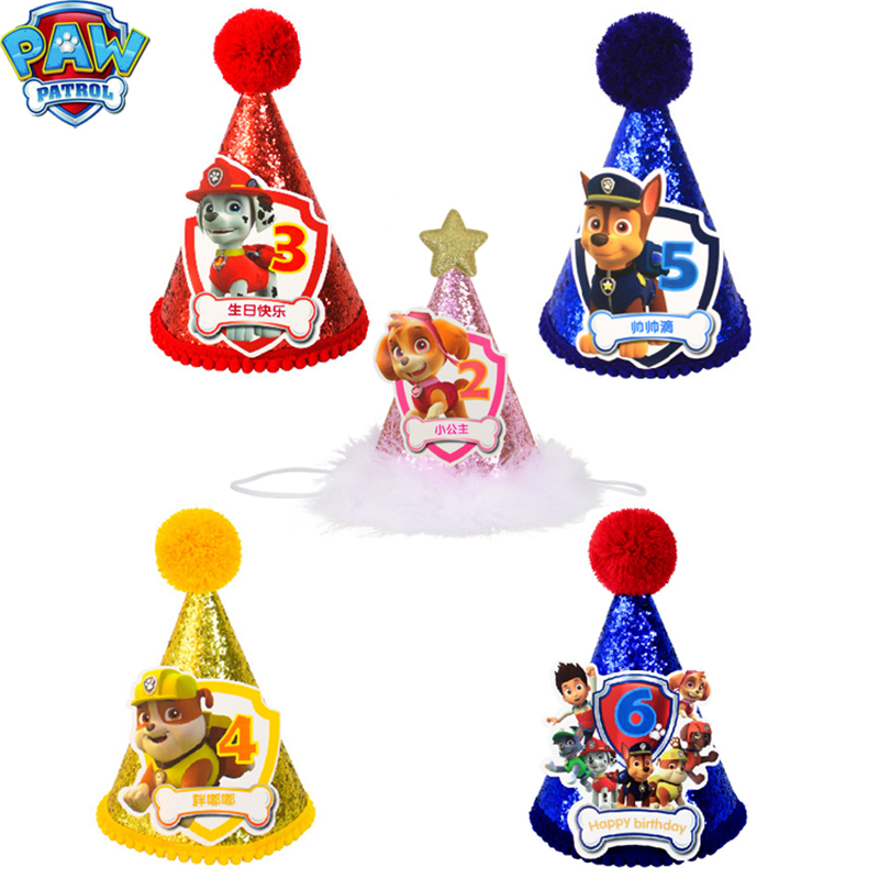 Paw Patrol Birthday Hat Patrol Party Theme Anime Figure Party Supplies Decoration Kids Toys For Children Christmas Gifts 2D63