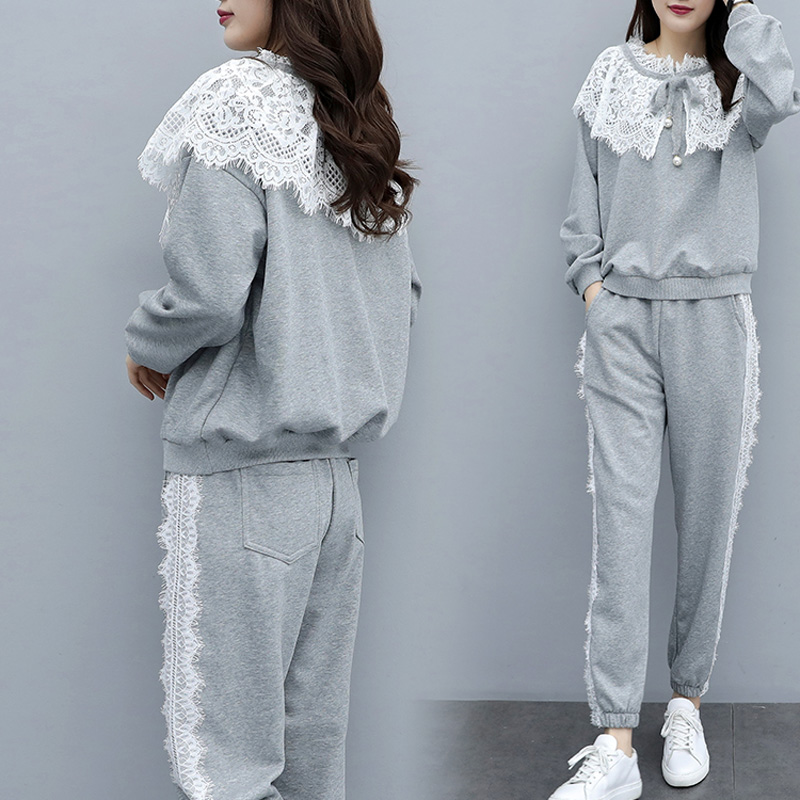 Casual Autumn Winter Women Warm Two Piece Sports Suit Plus Size O Neck Bow Lace Sweatshirt And Slim Pant Gray Cotton 2 Pcs Sets