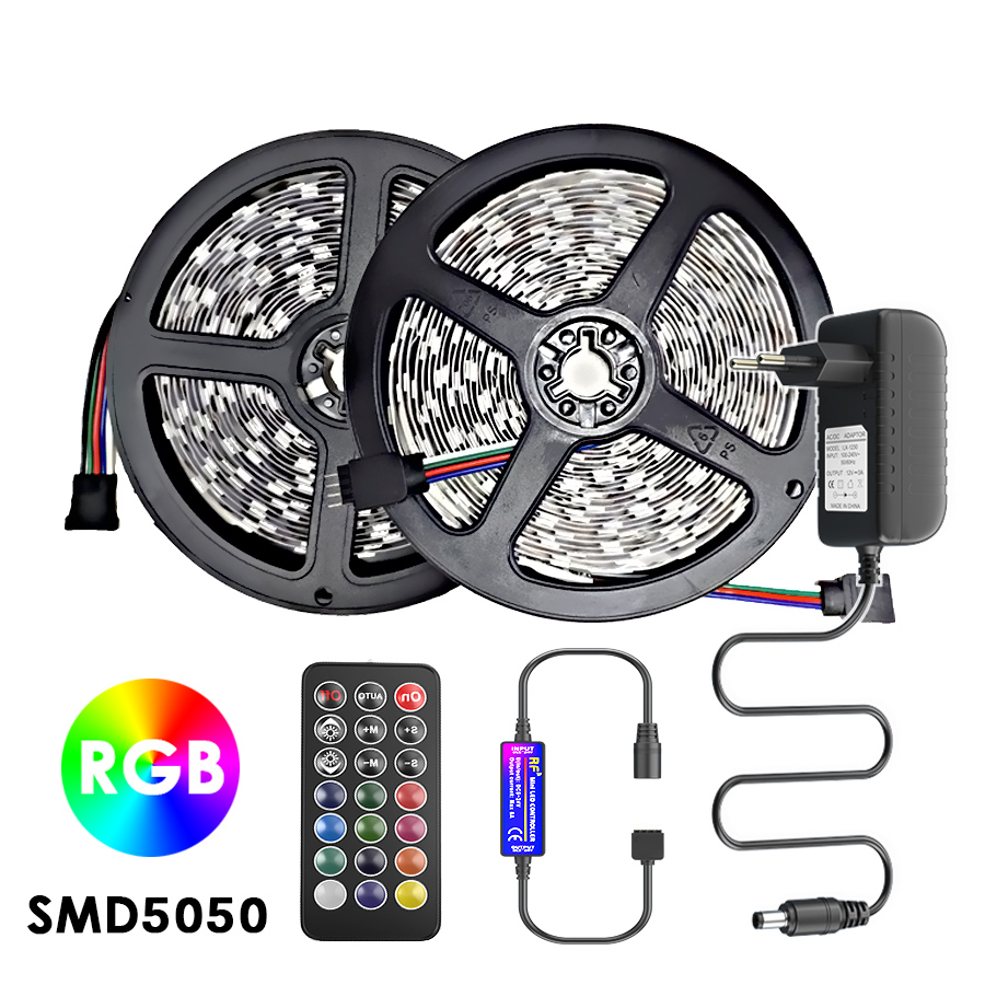Led Strip Light Rgb Smd 5050 Ribbon Tape DC 12V Waterproof Led Light Strips 5M 10M IR/RF Remote Control Diode Glow Stripe Lamp