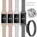 สายคล้องโลหะสำหรับ Fitbit Charge 2 Charge 3 วงสแตนเลส Chained สร้อยข้อมือนาฬิกาสำหรับ Fit bit charge