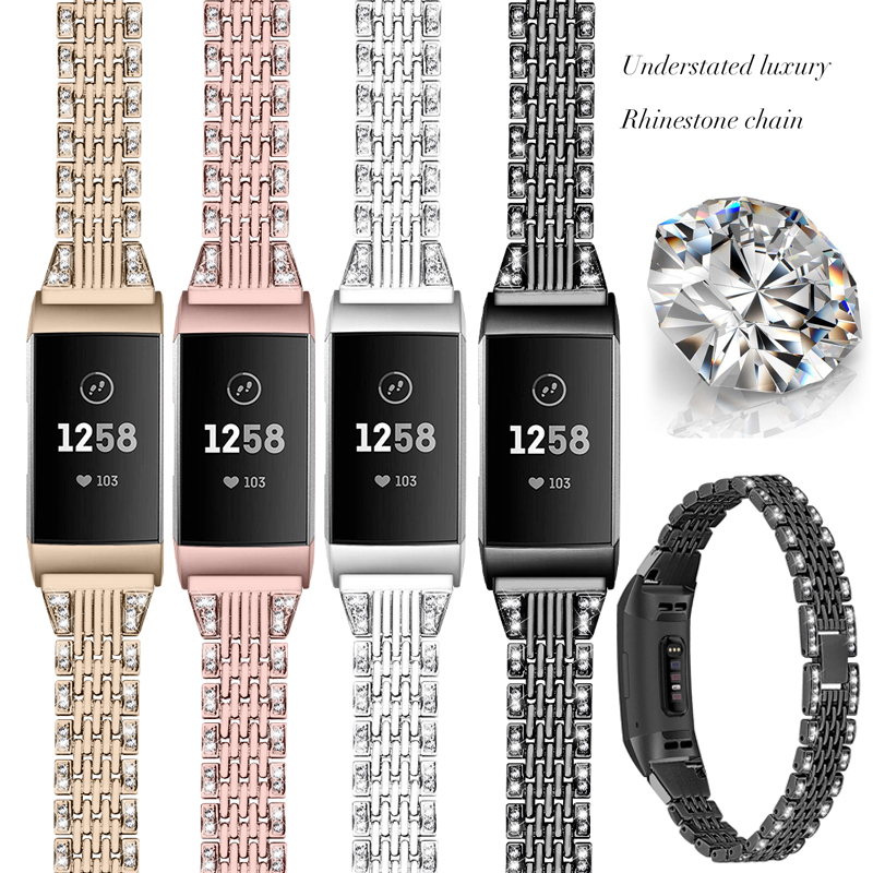 For Fitbit Charge 3 Metal Strap Diamond Stainless Steel Chained Female Replaceable Bracelet For Fit Bit Charge 3 Band