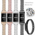 Pulseira de metal para fitbit carga 2 carga 3 banda diamante aço inoxidável acorrentado substituição pulseira relógio banda para caber bit carga