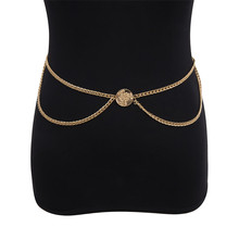 Women Coin Waist Chain Silver Gold Color Sexy Multi-layered Retro Tassels Waist Belt Chain Female Jewelry