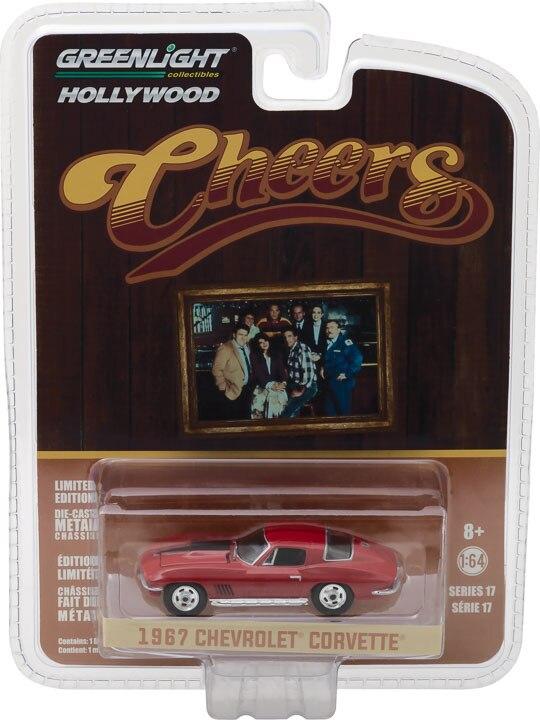Greenlight 1:64 1967 chevrolet corvette vermelho liga metal diecast carros modelo veículos de brinquedo para crianças menino brinquedos presente