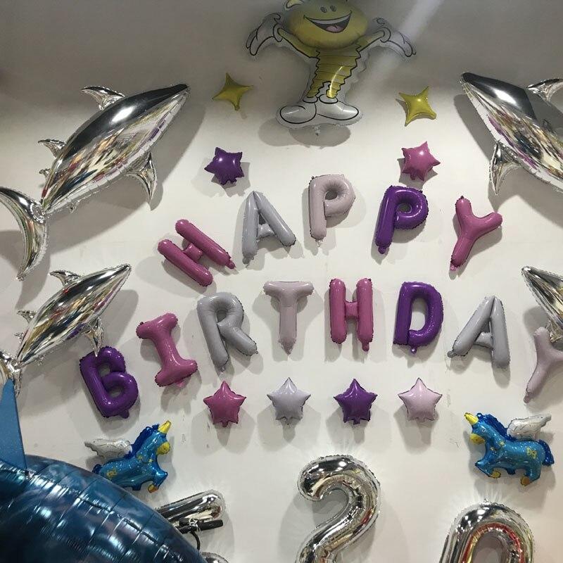 16 pouces lettres joyeux anniversaire feuille ballons joyeux anniversaire fête décoration enfants Alphabet Air ballons bébé douche fournitures