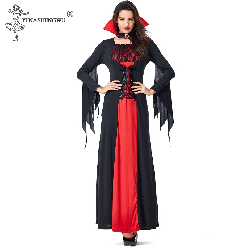 Deluxe <font><b>Halloween</b></font> <font><b>Sexy</b></font> Adult Women <font><b>Vampire</b></font> <font><b>Costumes</b></font> Victorian Vamp Fancy Party Dress Red and Black Witch Female <font><b>Costumes</b></font> image