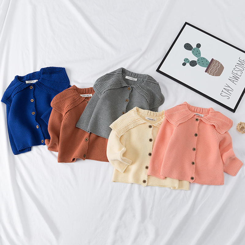 Baby Girls Cardigan 0-3 Years Old Baby Sweater Autumn Winter Lotus Leaf Collar Solid Color Children's Sweater Kids Baby Cardigan 3