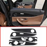 4pcs Carbon Fiber ABS Car Interior Doors Decoration Panel Cover Trim For Mercedes Benz E Class W213 2016 2017 Car Accessories