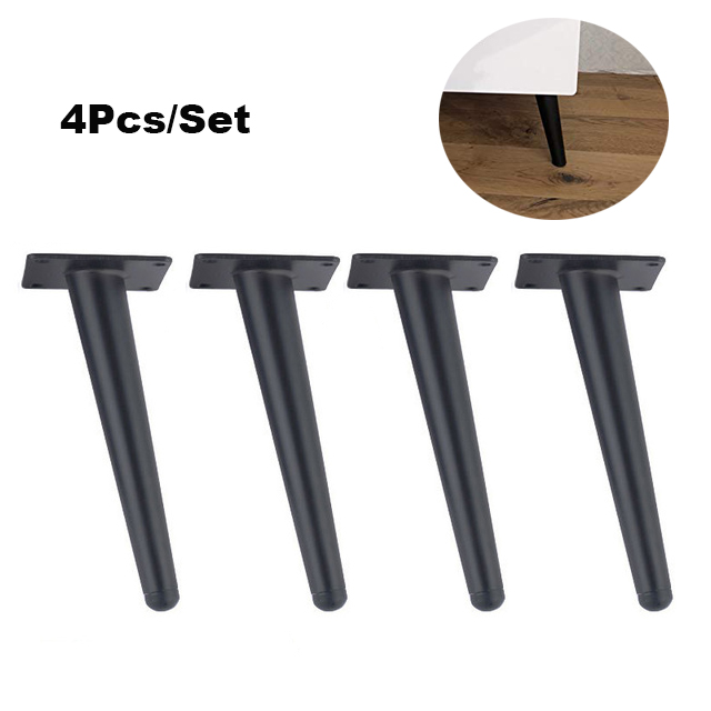 4 Pieces Of Metal Furniture Feet 20cm, Table, Cabinet Feet, Sofa Bed, TV Cabinet Feet With Mounting Screws, Black Stra