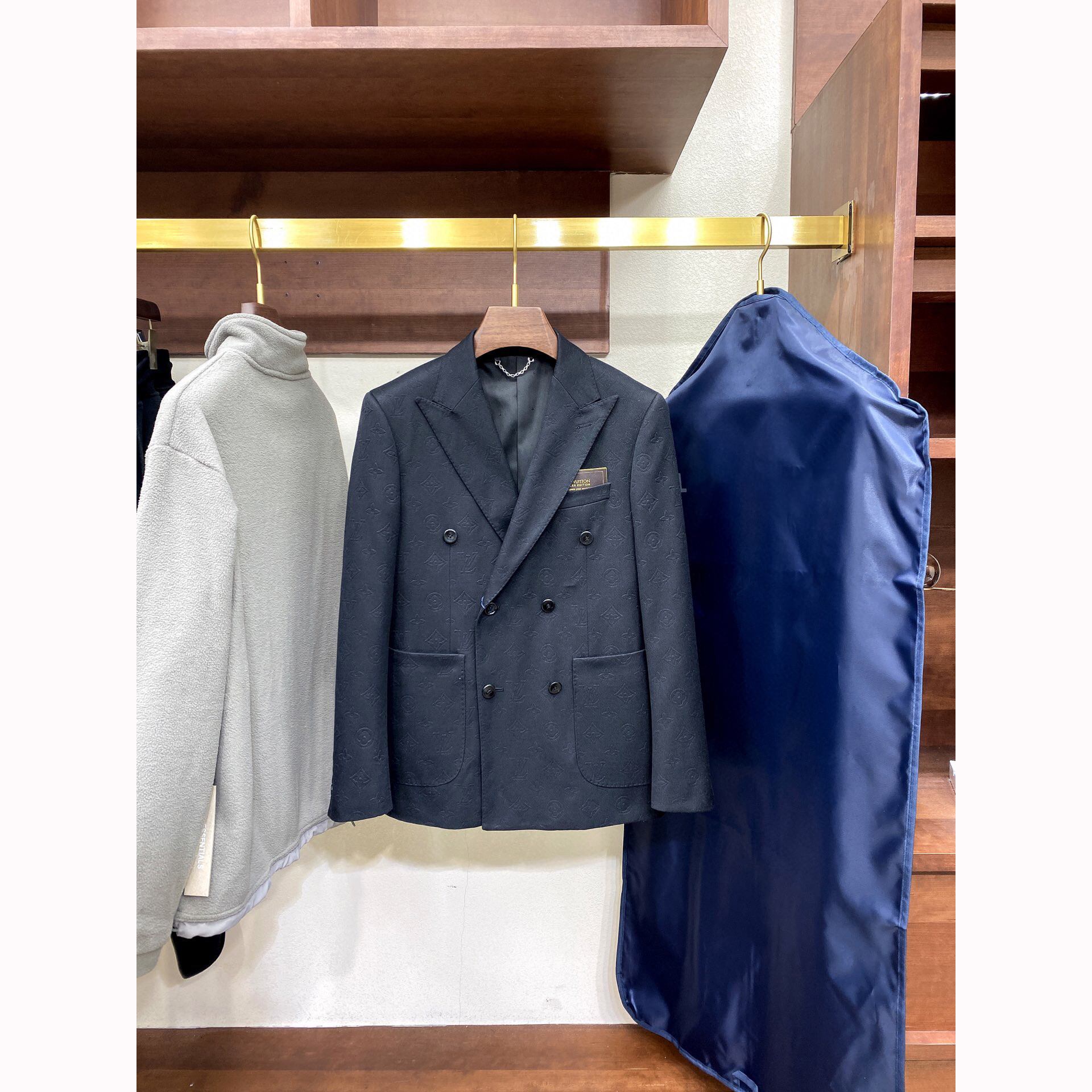 Andonaimi LU brand 2020 autumn and winter new wool double-breasted lapel classic embossed business casual suit jacket
