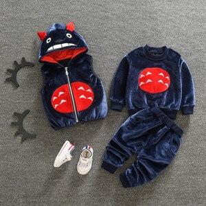 Image 4 - Làm dày Ấm cho bé Bộ Quần Áo Đầm nữ Năm mới Giáng Sinh Snowsuit Áo Phù Hợp cho bé gái bé trai 3 cái/bộ Quần Áo Trẻ Em