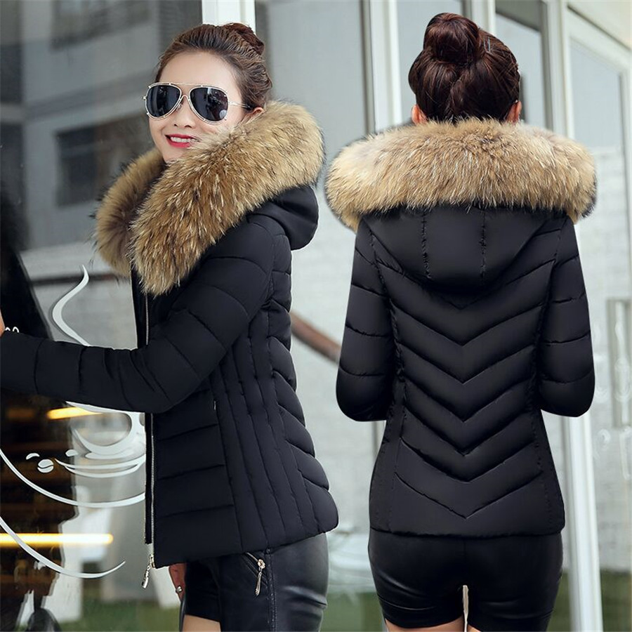 Fake Fur Collar Winter Female Jacket New 2019 Fashion Winter Coat Women Parkas Warm Hooded Winter Jacket Women Plus size S-5XL