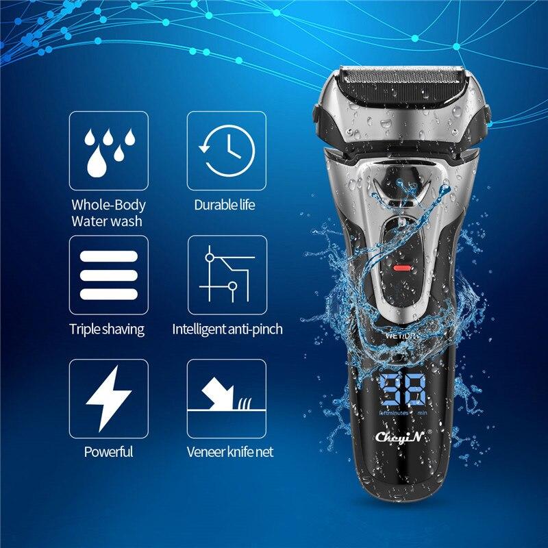Быстрая зарядка, электробритва для всего тела, моющийся триммер для бороды, мощная Тройная бритва для бритья с триммером, светодиодный дисплей|Электробритвы|   | АлиЭкспресс