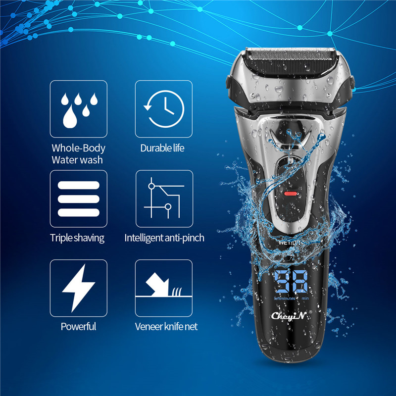 Quick Charge Electric Shaver Full Body Washable Beard Trimmer Powerful Triple Shaving Razor With Sideburns Trimmer LED Display