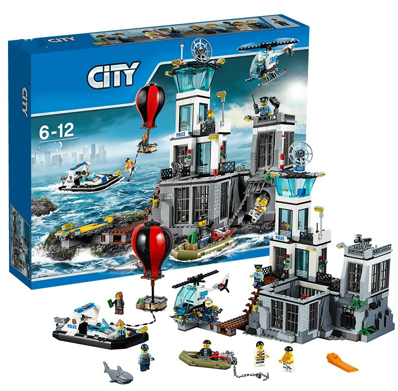 02006 Models building toy Lepining City police Series 60130 815pcs Building Blocks The Prison Island toys & hobbies gift