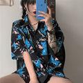 Блузка женская в стиле Харадзюку, милая Винтажная с мультяшным принтом, Повседневная Свободная рубашка с коротким рукавом, на пуговицах, на ...