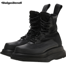 Hight End Genuine Leather Mid-calf Men Boots Cool Boy Trendy Thick Heel Snow Boots Winter Fur Casual Shoes Man