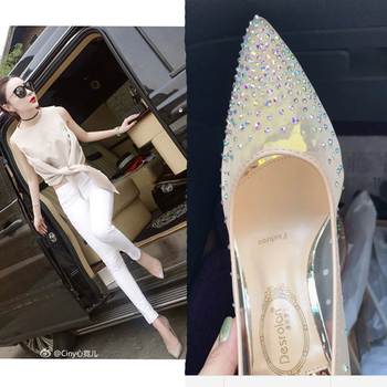 Mesh Rhinestone Sequin Pointed High Heels Women's Stiletto Lace Crystal Shallow Mouth Transparent Shoes424344 rhinestone decorated stiletto heels