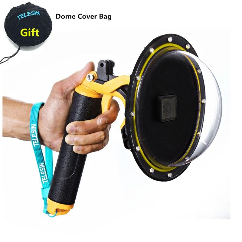 New Waterproof Accessories Diving Hood Dome+Handheld Monopod Bobber Floating Mount For Gopro Hero8 Hero7 6 5 4 3+3 Camera Mounts