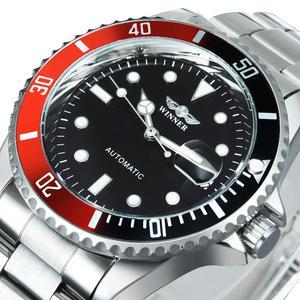 Image 1 - Winnaar Officiële Mode Jurk Horloges Roestvrij Staal Automatische Horloge Mannen Datum Display Klassieke Sport Stijl Mechanische Horloge