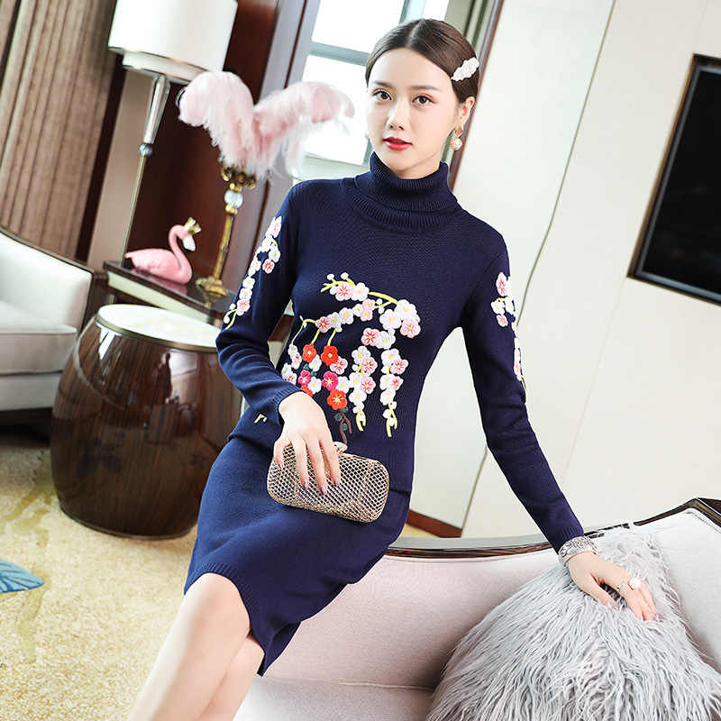 Водолазка свитер платье 2019 осень зима вязаное платье женское Цветочная вышивка вязаное с длинным рукавом синий черный красный джемпер платье