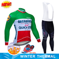 QUICK STEP Pro Team Cycling Jersey Set winter Long Sleeve Cycling Clothes Thermal Fleece MTB Clothing Men Road Bike Uniform