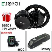 Bafang 8FUN 36V 350W M215 13Ah Li ion BBS01B 850C DPC18 Gear Sensor Ebike Mid Drive Motor Conversion Kit with Battery Function